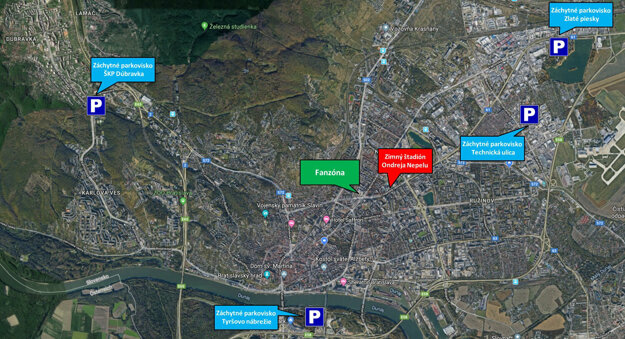 Supporting parking lots in Bratislava during ice hockey worlds.