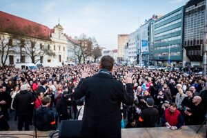 Poliitcians addresed the crowd in downtown Bratislava.