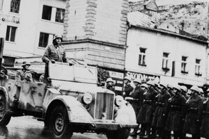 The German army parade in Banská Bystrica after the SNP Uprising failed in October 1944.