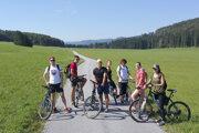 Cyclists ride through the Great Plain (Veľká lúka) in the Muránska planina national park, central Slovakia. Tourists can rent an e-bike in the village of Muráň, which lies in the national park.