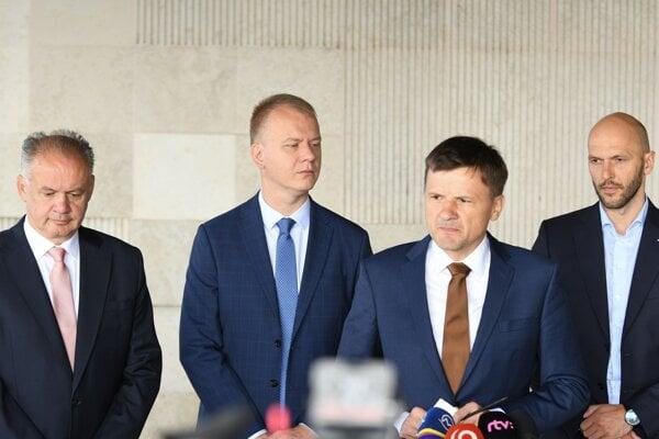 Left to right: Andrej Kiska (Za Ľudí), Miroslav Beblavý (Spolu), Alojz Hlina (KDH), Michal Truban (PS)