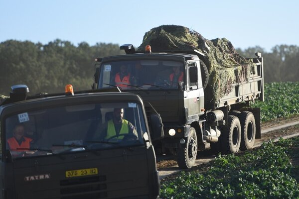 The MiG-29 jet wreckage is transported to the military airport in Sliač, central Slovakia
