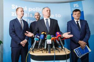 l-r: Spolu leader Miroslav Beblavý, PS leader Michal Truban, Za Ľudí chair Andrej Kiska and KDH chair Alojz Hlina