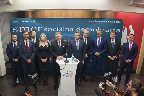 Smer chair Robert Fico presents the top 10 on the party's slate before the 2020 elections on November 27, 2019