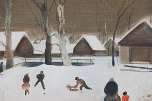 Vladimí Kompánek's winter-themed paintings are exhibited at the City Gallery of Bratislava (GMB) until the end of February 2020