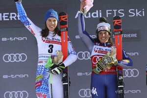 Slovakia's Petra Vlhová and Italy's Federica Brignone celebrate on the podium at the end of an alpine ski, World Cup women's giant slalom in Sestriere, Italy.
