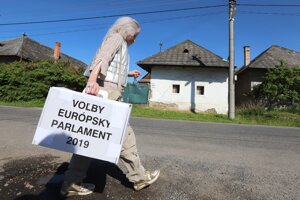 A woman carries an election ballot box in a village near Zvolen, central Slovakia, during the 2019 European Parliament elections.