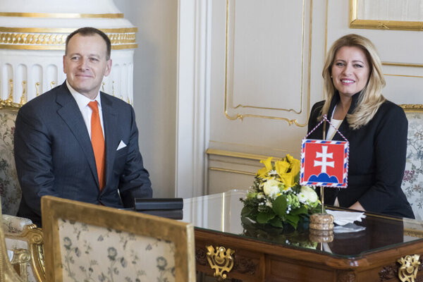 Sme Rodina chair Boris Kollár meets President Zuzana Čaputová in the Presidential Palace on March 3, 2020.