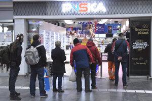 People waiting in queues in Košice.