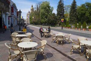 Outdoor terraces in Košice.