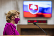 President Zuzana Caputova delivers her first-ever state of the republic address in the Slovak parliament on June 5, 2020.