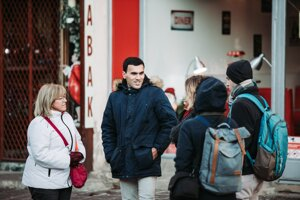 Afghan Rayeiz Rahman takes Košice locals to the places he likes in the city during one of the[fjúžn] walks on December 11, 2019.