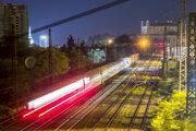 Yellow train of RegioJet company leaving Bratislava.