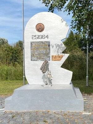 The restored monument marking fallen US soldiers near the village of Zohor.