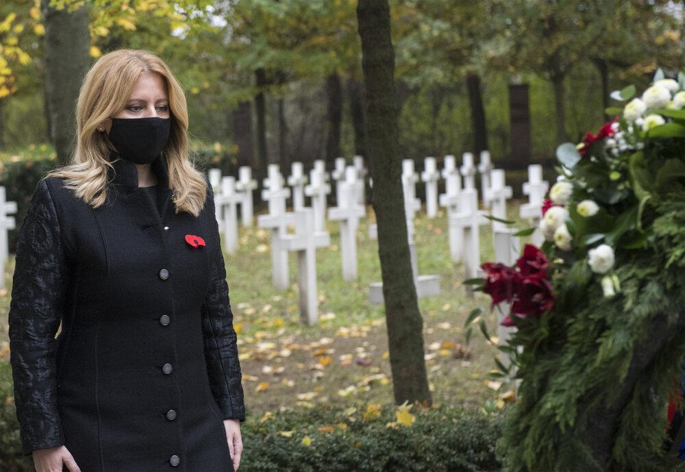 President Zuzana Čaputová at the military cemetery in Petržalka.