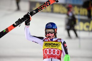 Petra Vlhová of Slovakia celebrates after winning the alpine ski, women's World Cup slalom in Levi, Finland.