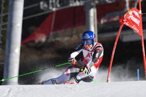 Slovakia's Petra Vlhová during the first round of the parallel giant slalom in Lech/Zuers, Austria.