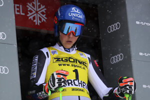 Slovakia's Petra Vlhová prepares to start the second run of an alpine ski, women's World Cup giant slalom in Courchevel, France.