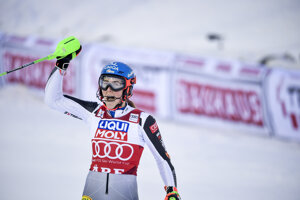 Petra Vlhová, wins the women's slalom race of the FIS Ski Alpine World Cup in Are, Sweden, Friday March 12, 2021.