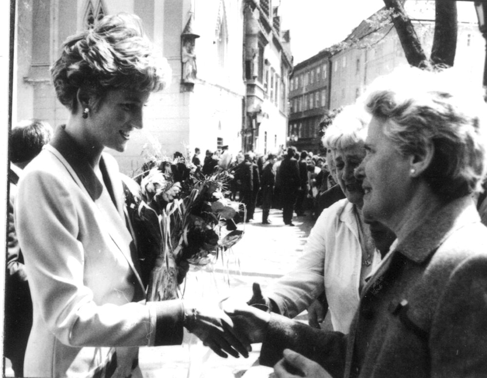 Princess Diana talks to Bratislava residents during her visit to the city.