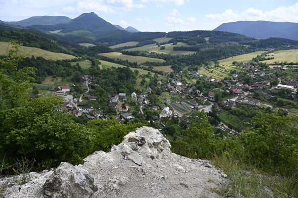 A view of Košecké Podhradie from castle ruins above the village.