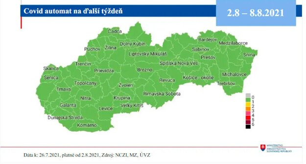Map of districts from Monday, August 2, 2021.