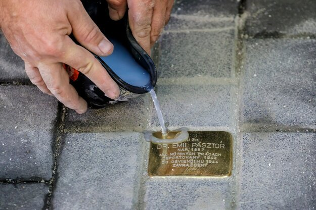 The settlement of Stones of the Disappeared (Stolpersteine) in front of Emil Pásztor's house on 3 Kúpeľná Street in Bratislava on September 9, 2021. The stones commemorate and honour the monuments of the victims of the Holocaust and the Nazi regime.