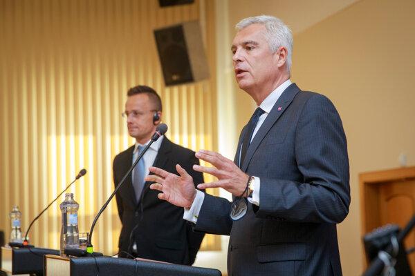 Ivan Korčok (front) and Péter Szijjártó (back)