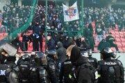 Police had to intervene during the football match between Slovan Bratislava and Spartak Trnava.