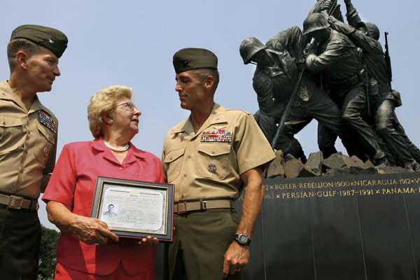 Mary Pero was presented with the U.S. citizenship certificate for her brother, Michael Strank.