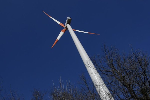 One of the four turbines at the wind park in Cerová.