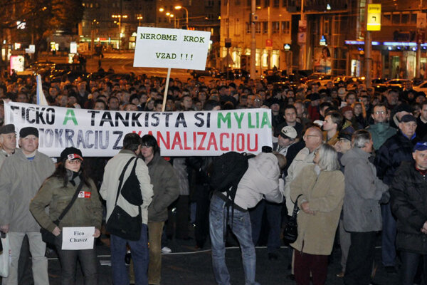 Hundreds of people gathered in Bratislava's SNP Square to protest against steps the Fico government has taken.