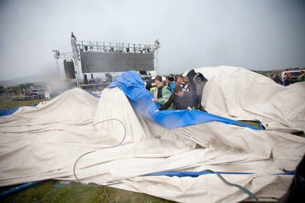 The remains of the tent, after it was blown down.