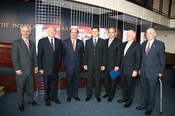 From left to right: Ambassadors Ralph R. Johnson, Branislav Lichardus and Rodolphe M. Vallee; Miroslav Lajčák; Ambassadors Peter Burian, Vincent Obsitnik and Theodore E. Russell.