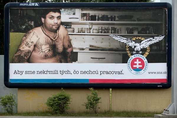 The SNS billboard poster (above), and a photograph (below) taken later of Lukáč Bart, the Roma man featured in the poster.