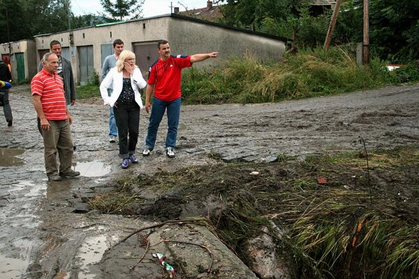 PM Radičová assesses flood damage.