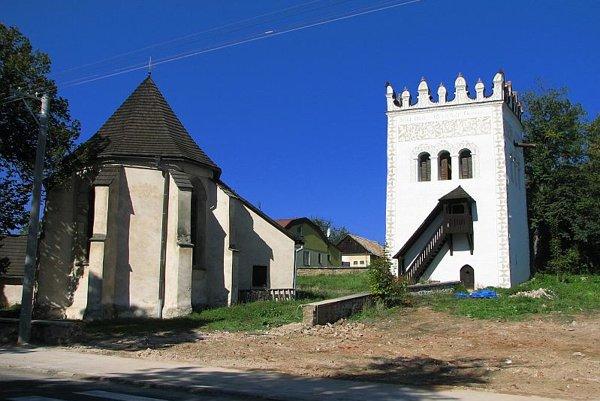 St Anna's Church and bell tower in Strážky.