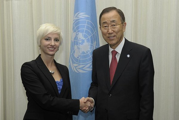 Monika Mareková with Ban Ki-moon.
