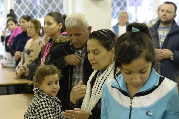 A group of Assyrian Christians who arrived in Slovakia.