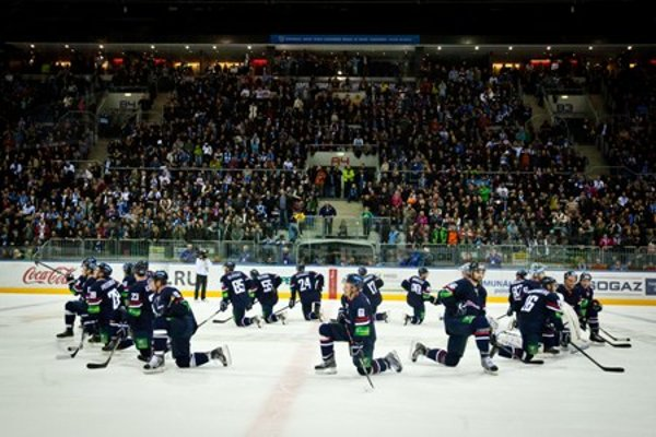 Slovan Bratislava team after the match with Russian Metallurg Magnitogorsk in the KHL ice-hockey league