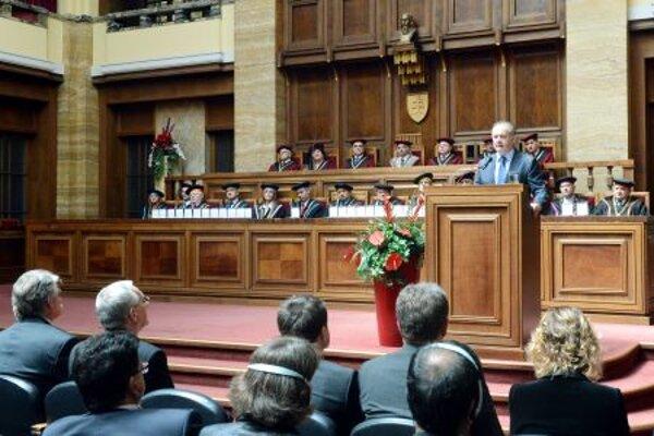 President Andrej Kiska attended the anniversary celebration in the university auditory