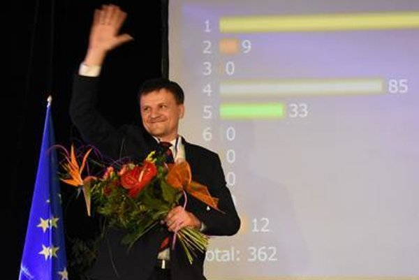 Hlina celebrates his victory in race for KDH chair.