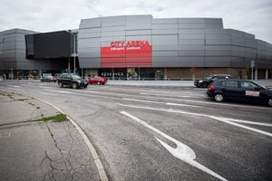 New Trnava stadium is adjacent to a shopping gallery.