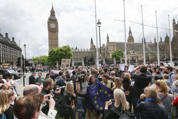 Demonstrators opposing Britain's exit from the European Union in Parliament Square in London.