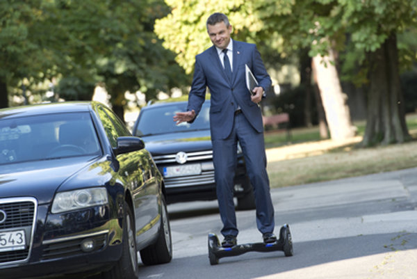 Deputy Minister for Investments Peter Pellegrini came on hoverboard.