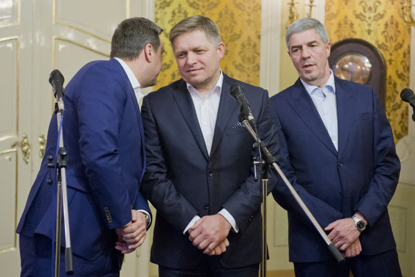 Andrej Danko (SNS), Robert Fico (Smer) and Béla Bugár (Most-Híd), from left, announced agreement on a way to scrap Mečiar's amnesties