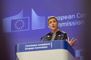 European Commissioner for Competition Margrethe Vestager speaks during a media conference regarding Gazprom at EU headquarters in Brussels on March 13.