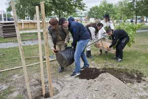 "Planting ""Naopoleon's oak"" on May 20, 2017."