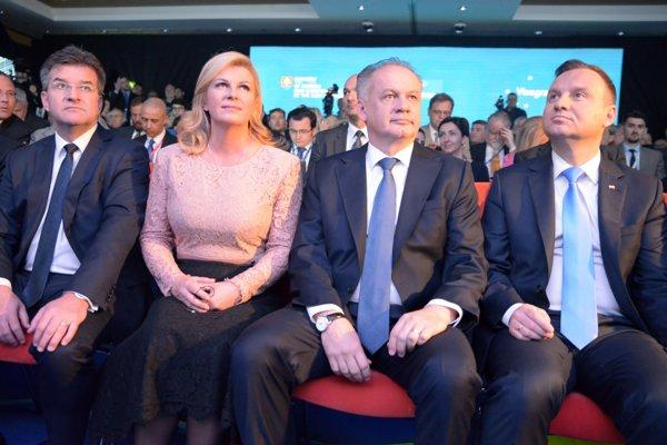 Slovak Foreign Minister Miroslav Lajčák, Croatian President Kolinda Grabar-Kitarović, Slovak President Andrej Kiska, Polish President Andrzej Duda (left to right) attend the opening of Globsec 2017 in Bratislava.