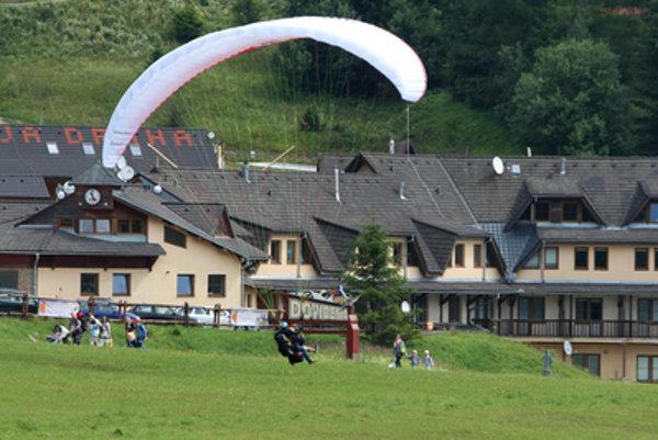Illustrative stock photo at tandem para-gliding at donovaly